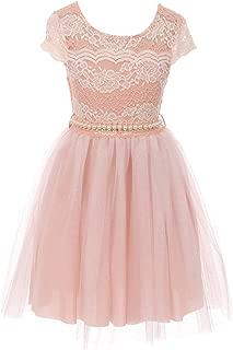 BNY Corner Cap Sleeve Lace Pearl Tulle Graduation Wedding Flower Girl Dress USA