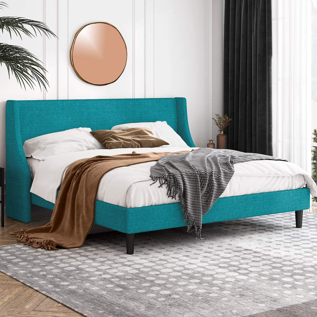 Einfach King Size Platform Excellence Bed with Wingback Headboard F Frame Selling and selling