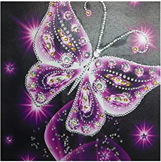 Hot Sale!DEESEE(TM)🌸🌸Special Shaped Diamond Painting DIY 5D Partial Drill Cross Stitch Kits Crystal Rhinestone Of Picture Serial Diamond Embroidery Arts Craft Butterfly (Purple)
