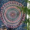 momomus Arazzo Mandala - Indiano - 100% Cotone, Grande, Multiuso - Arazzi da parete grandi - Stampe / Arredamento / Decorazioni per la Casa, Camera da letto o Muro - Telo Xxl, Blu B, 210x230 cm #1