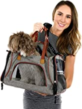 Bark & Bark Pet Carrier -Oxford Ash Material with 3 Way Opening. Pet Can See with Good Air Circulation. Small & Medium dog, cat poppy expandable soft- sided TSA approved airline travel carrier.