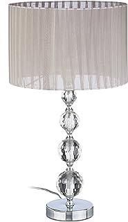 Relaxdays 10022849 Lampe de Chevet Abat-Jour Tissu Voile Boules Verre Cristal HxlxP: 53x29,5x29,5 cm, Claire/Argent, 40 W,...