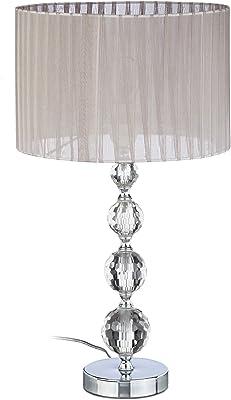 Relaxdays 10022849 Lampe de Chevet Abat-Jour Tissu Voile Boules Verre Cristal HxlxP: 53x29,5x29,5 cm, Claire/Argent, 40 W, 29.5 x 29.5 x 41 cm