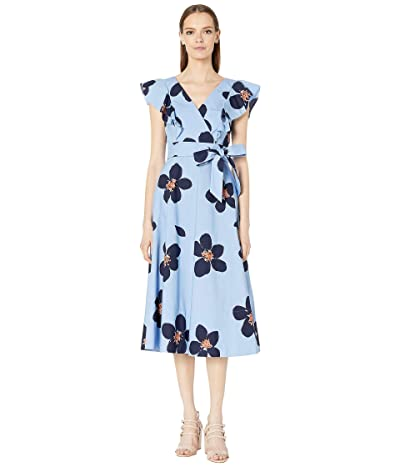 Kate Spade New York Grand Floral Poplin Midi Dress (Blue Heron) Women