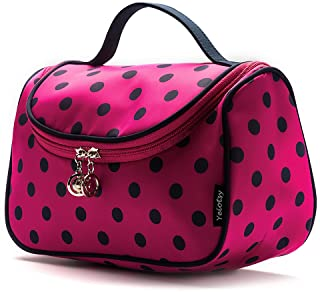 Travel Cosmetic Bag Cute, Yeiotsy Polka Dots Makeup Bag for Girls Travel Toiletry Organizer (Rose Red)