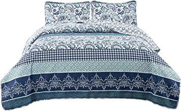 HollyHOME 2 Piece Printed Quilt Coverlet Set Twin Size 68x86 with 1 Sham Lightweight Design for Spring and Summer Microfiber Bedspread Sets, Blue, Striped Pattern, Paisley