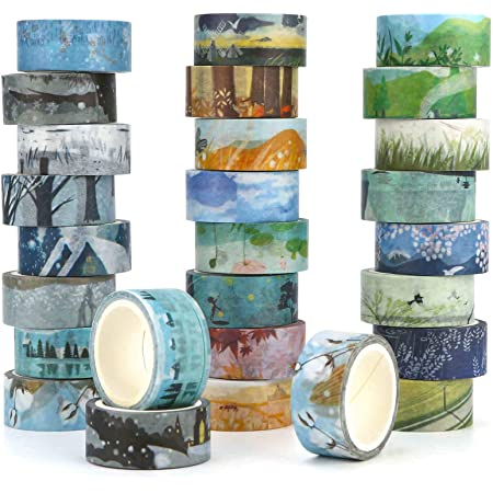3 Rolls Washi Paper Tape Sticker Landscape DIY Scrapbooking Album Decor Craft