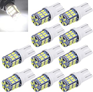 Aucan Super Bright 194 921 168 2825 W5W T10 Wedge 30-SMD 3014 Chipsets LED Replacement Bulbs for 12V Car Interior Dome Map Door Courtesy Trunk License Plate Lights Xenon White (pack of 10)