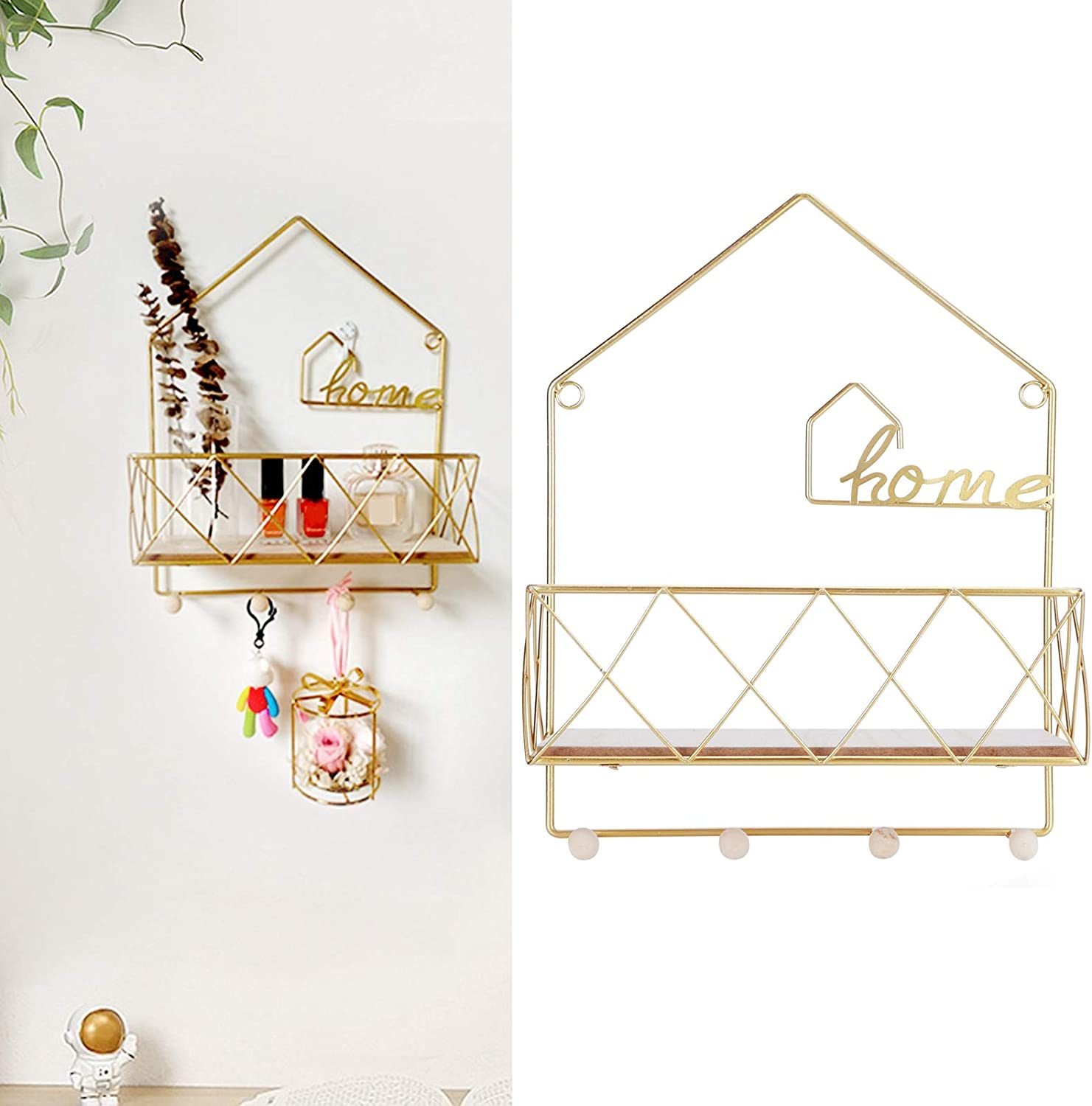 Popular FastUU Storage Rack Wrought Max 89% OFF Iron Din Punch‑Free Wall for