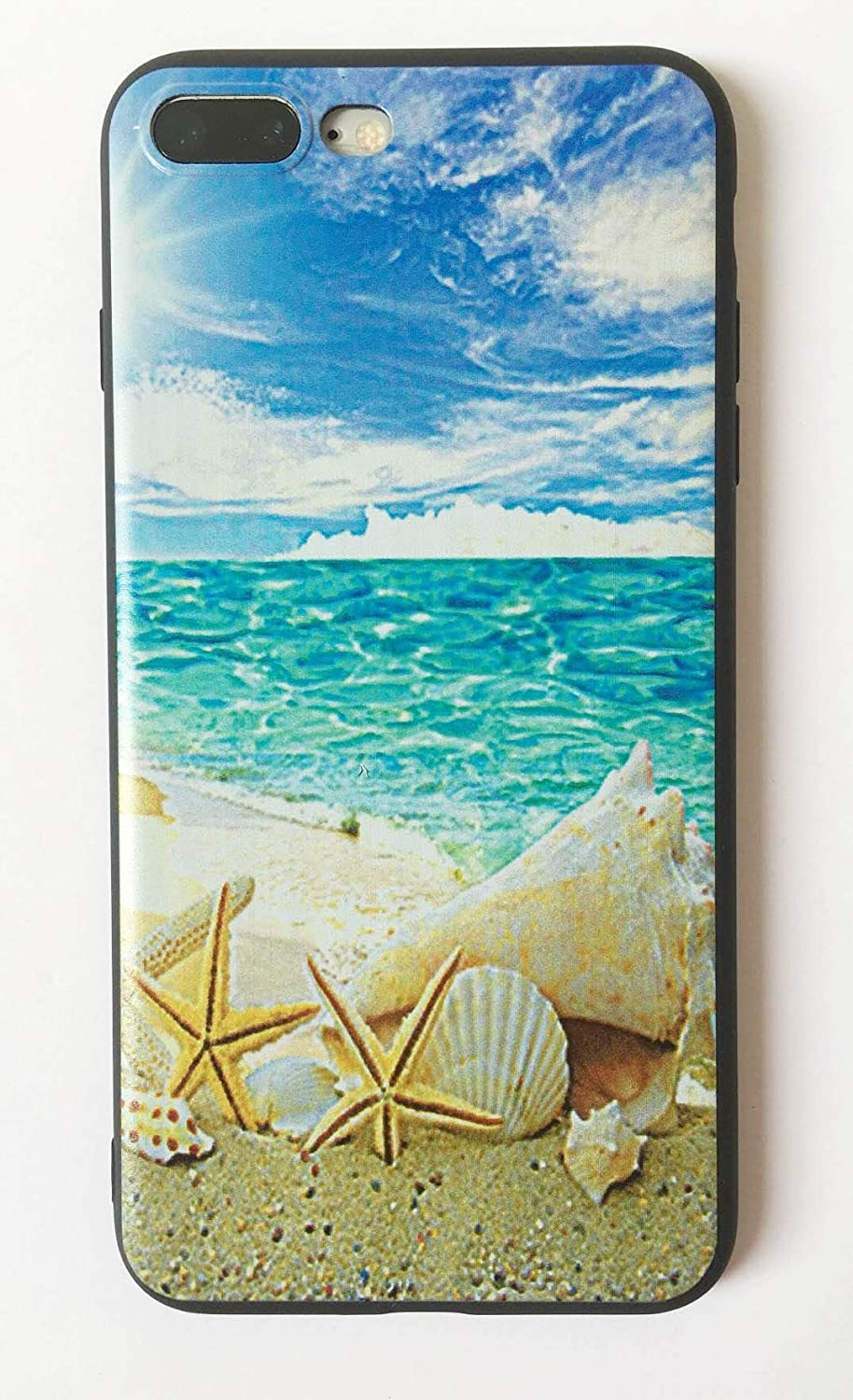 Beach and Seashells iPhone 7PLUS /8 Plus Case,Soft Silicone TPU Shock Absorption Bumper Protective Case for iPhone 7PLUS /8 Plus