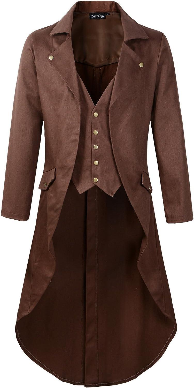 Mens Gothic Tailcoat Jacket Black Steampunk VTG Victorian Coat (L, Brown)