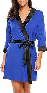 Ekouaer Women's Kimono Robe Short Lightweight Viscose Knit Bathrobe (S-XXL)