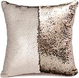 SNUG STAR Two-Color Decorative Pillow Case Square Paillette Throw Mermaid Sequins Cushion Covers 16 X 16 for Home Decor Party/Sofa/Bed (Matt Champagne and Light Gold)