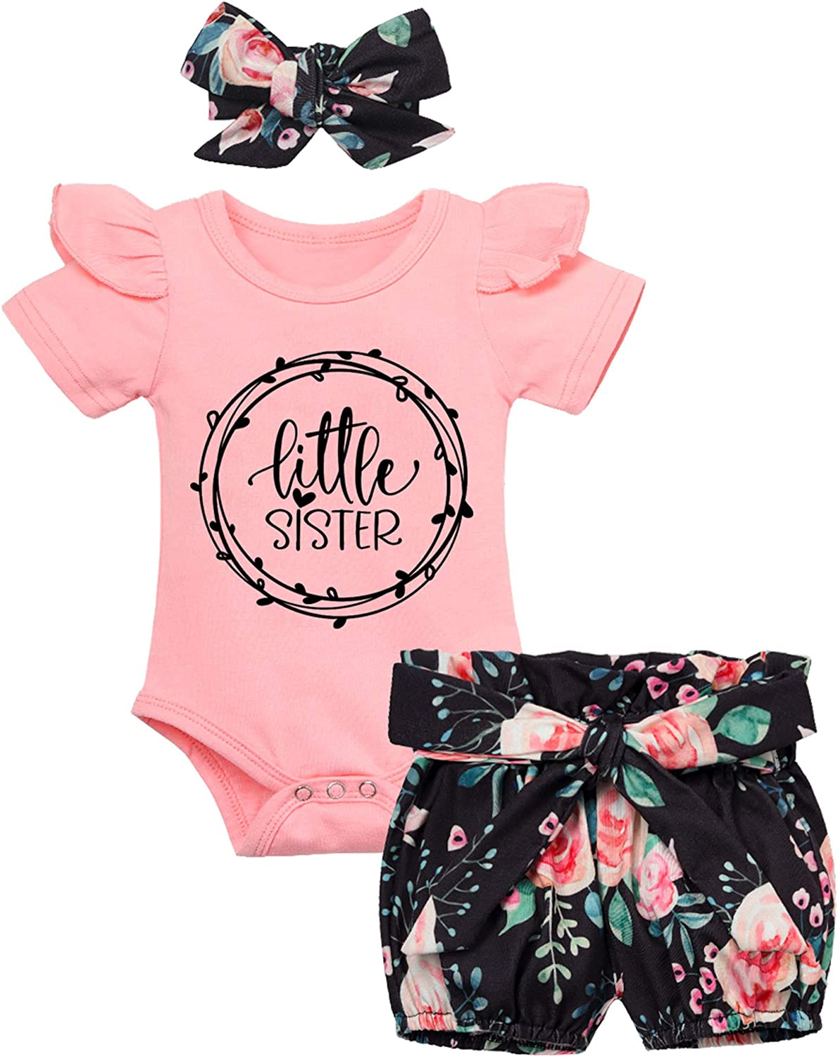 Baby Girls Clothes Floral Sleeve Romper+ Floral Short Pant 3pcs Summer Outfit Apricot
