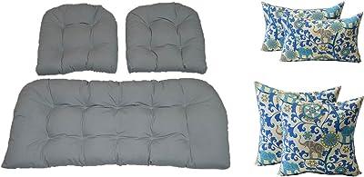 Amazon.com: Mimbre cojines y almohadas 7 pieza set – Zafiro ...