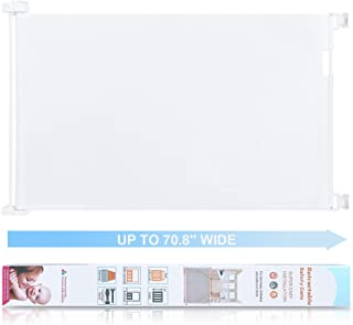 Retractable Safety Baby Gate - Extra Width 180cm/71 inch 360 Degree Telescopic Gates for Doorways, Baseboard Openning, Door Replacement