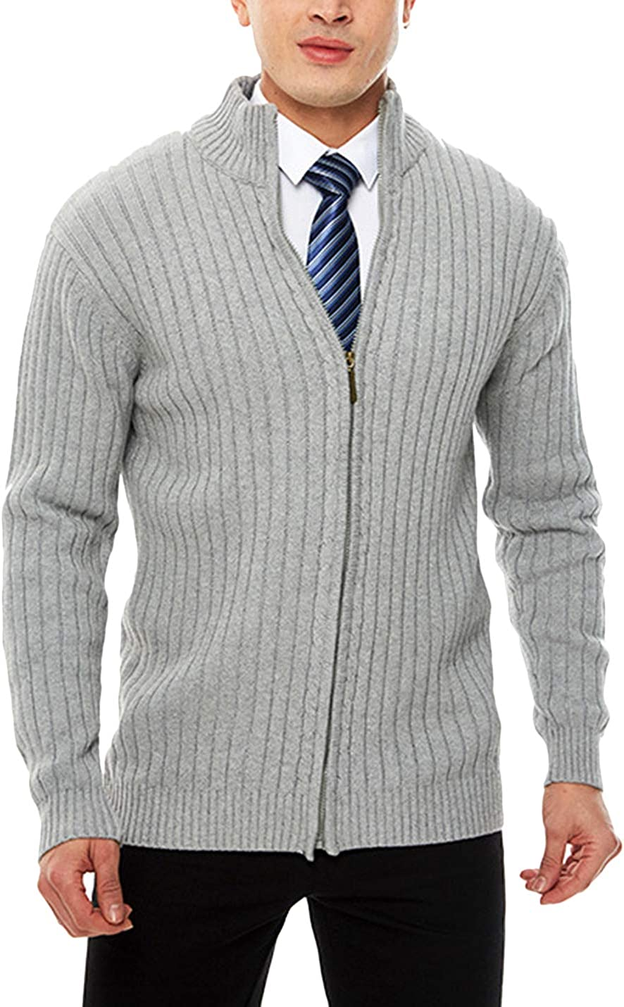 HaoMay Men's Business Casual Full Zip Long Sleeve Knitted Cardigans Sweater