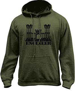 Army Engineer Branch Insignia Castle Veteran Pullover Hoodie