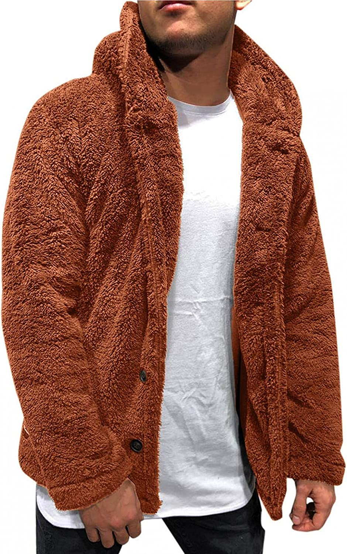 Hoodies for Men Men's Autumn Winter Solid Color Long Sleeve Hooded Double-faced Fleece Jackets Warm Mens Zip Up Hoodies