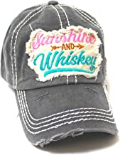Women's Ballcap Sunshine and Whiskey Tribal Arrow Patch Embroidery Hat, Graphite