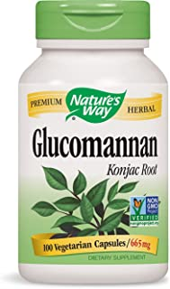 Nature's Way Glucomannan Root, Dietary Fiber 100 capsules, Certified 665mg