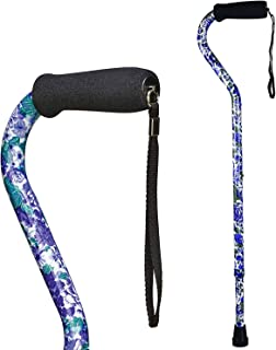DMI Adjustable Designer Cane with Offset Handle, Comfort Grip and Strap, Purple Flower