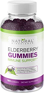Sambucus Elderberry Gummies Family Size, 180 Elderberry Gummies with Zinc and Vitamin C & Black Elderberry Extract, for Ki...