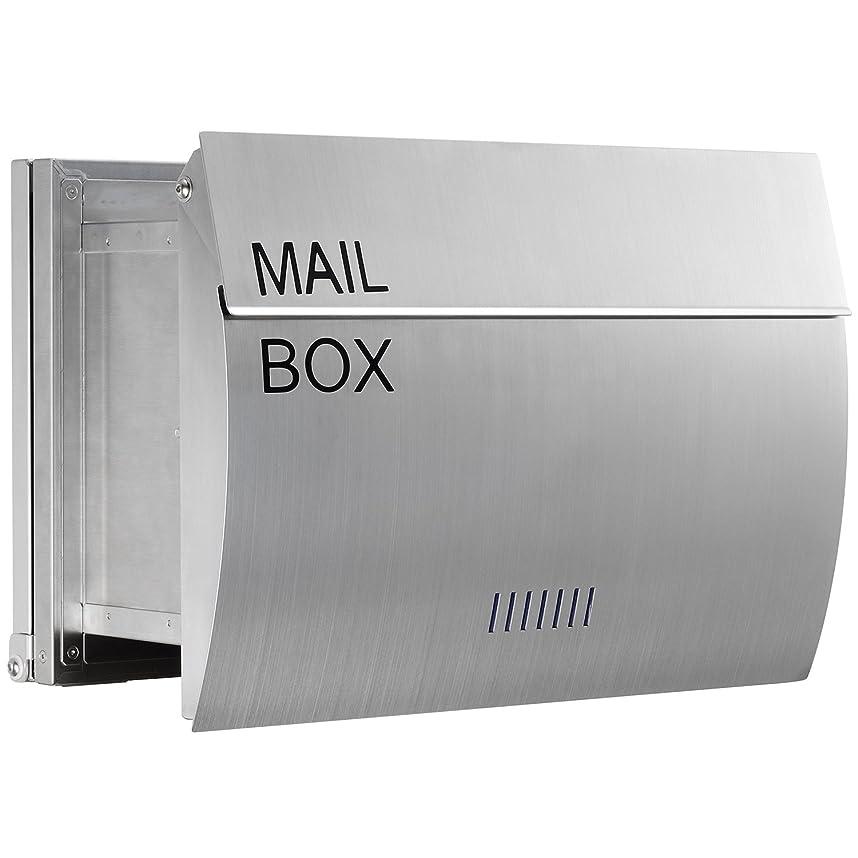 観点入射遅滞LEON (レオン) MB0310 郵便ポスト 埋め込み型 ステンレス製 メール便対応 防水 おしゃれ 大型 北欧 ポスト 郵便受け 無塗装ヘアライン