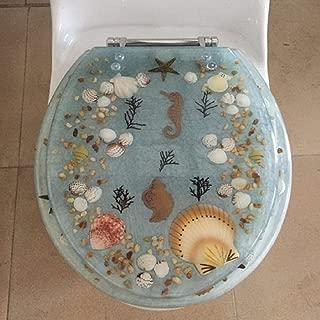 Heavy Duty Comfort Seahorse Seashells Round Toilet Seats with Cover Acrylic Seats. (Aqua