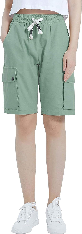 XinYangNi Women's Cargo Shorts Elastic Regular Louisville-Jefferson County Mall discount Waist Drawstring Cotton L