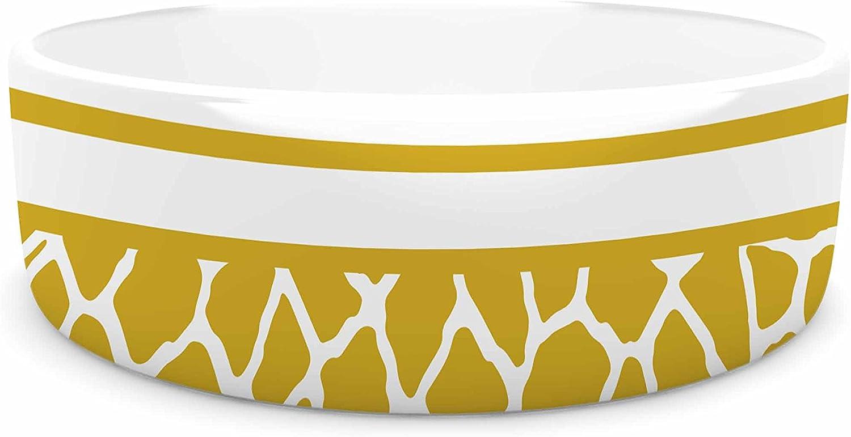 KESS InHouse Trebam Staklo (gold) gold White Digital Pet Bowl, 7  Diameter