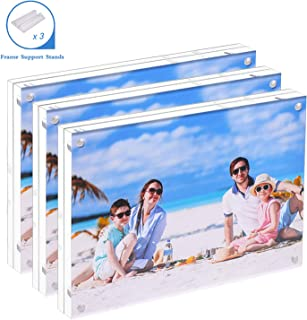 JUOIFIP Premium Acrylic Photo Frame 4x6-3 Pack Gift Box Package, Clear Free Standing Desktop Double Sided Best Gift for Family, Perfect Decorate Birthday Wedding Party - Free Soft Microfiber