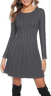 Hawiton Vestido de Punto para Mujer Elegante Vestido de Suéter de Cuello Alto Jersey de Manga Larga de Una Línea para Otoñ...