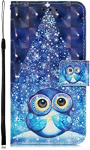 DENDICO Galaxy Plus Case Leather Wallet Cover Flip Bookstyle Cute Pattern Magnetic Shockproof Protective Case for Samsung Galaxy Plus Blue Owl