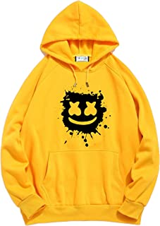The SV Style Unisex Yellow Hoodie with Black Print: Marshmellow/Printed Yellow Hoodie/Graphic Printed Hoodie/Hoodie for Men & Women/Warm Hoodie/Unisex Hoodie