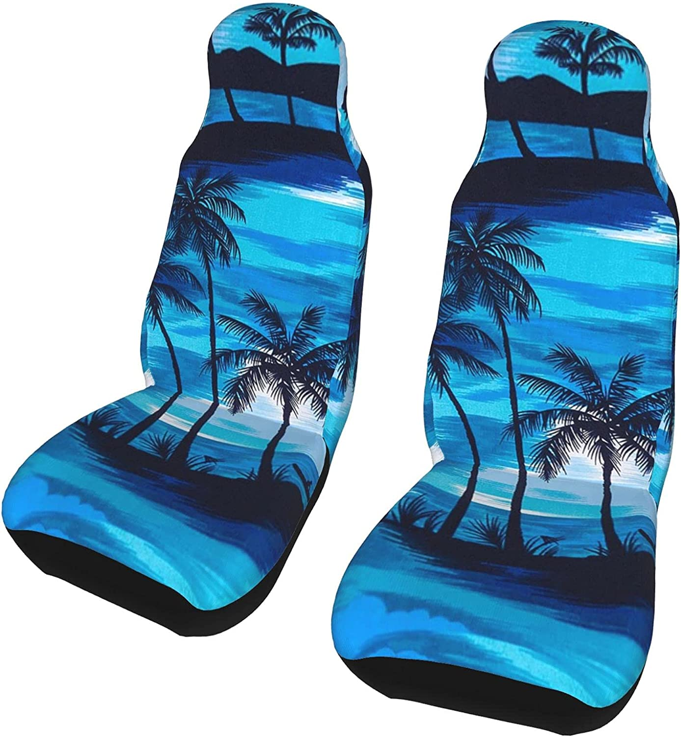 Inrubie Blue Color Palm Trees 2 Front Pcs Seat Seats Car We OFFer at cheap prices Covers Mesa Mall