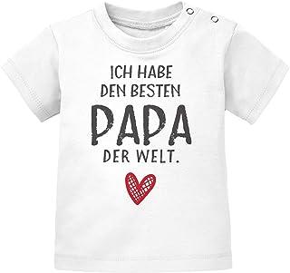 MoonWorks Baby T-Shirt Kurzarm mit Spruch ich Habe den besten Papa der Welt Geschenk Geburtstag Bio-Baumwolle Shirt