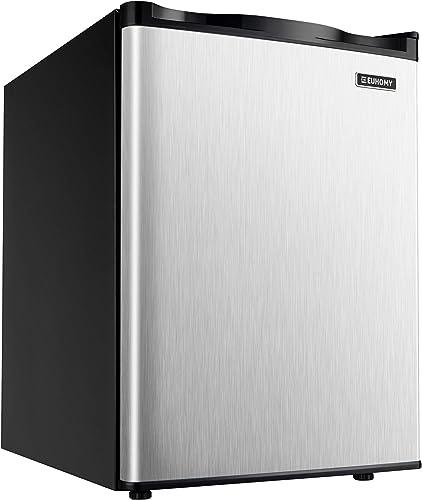 Euhomy Upright freezer, 2.1 Cubic Feet, Single Door Compact Mini Freezer with Reversible Stainless Steel Door, Remova...