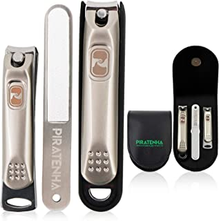 Piratenha Premium Nail Clipper Set - 3PCS Stainless Steel Finger Nail, Toe Nail Clippers and Nail Trimmer with easy portable Leather case for everyone - Gold [New Generation]