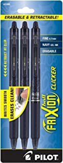 Pilot FriXion Clicker Retractable Erasable Gel Pens Fine Point (.7) Navy Blue Ink 3-pk; Make Mistakes Disappear, No Need F...