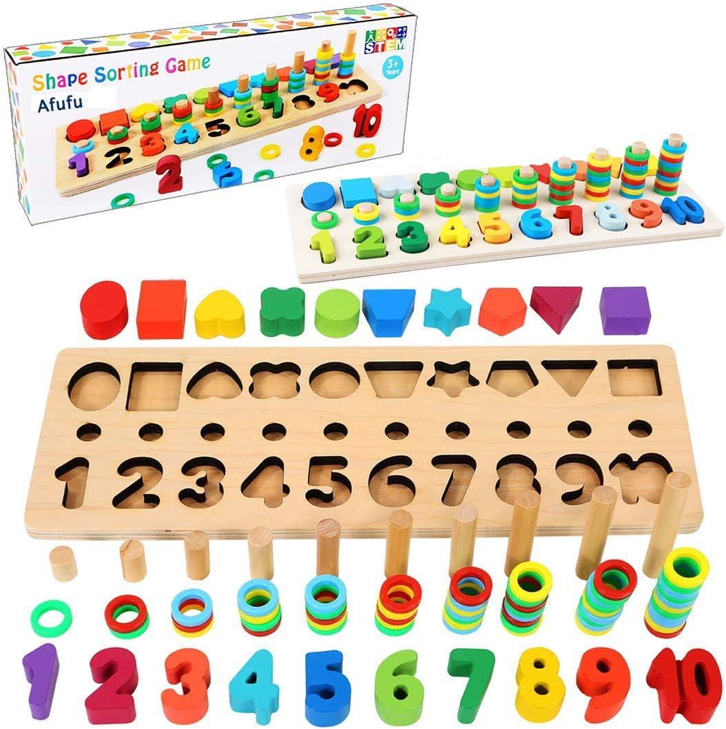 Afufu Juguetes Bebe 1 2 3 4 5 6 años Niños, Juegos de Madera Educativos Tablero de Conteo de Números de Apilamiento de Clasificación Matemática Aprendizaje de Juegos, Regalo de cumpleaños, Navidad