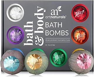 ArtNaturals Large Bath Bombs Gift Set kit – (12 x 4 Oz / 113g) - Natural Handmade Essential Oil Spa Bubble Bath Bomb Balls...