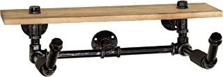 MyGift Wall-Mounted Industrial Pipe Bicycle Rack with Wood Storage Shelf