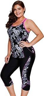 ملابس السباحة الرياضية النسائية من LALAGEN مقاس إضافي من قماش التانيكيني