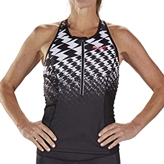 Ultra Women's Racerback Tri Tank - High Performance Triathlon Top with Built-in Bra and 3 Pockets