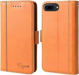 iPhone8 Plus ケース 手帳型 iPhone7Plus 6sPlus カバー 財布型 アイフォン6plus 6s plus 7plus 8plus 四機種対応 マグネット式 横置き機能付き カード収納 Qi充電対応 ストラップ通し穴 高級PUレザー Engun iPhone6プラス/6sプラス/7プラス/8プラスに対応 ブラウン-sy79-