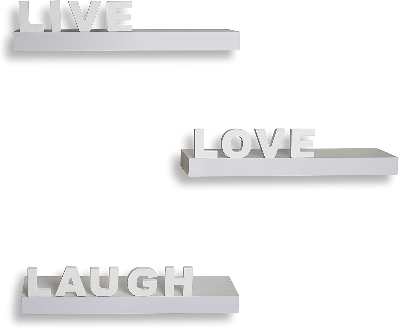 Danya B Decorative Live Love Laugh Free Shipping Cheap Bargain Gift White Shelves of Choice 3 Set Wall