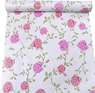 PoetryHome Self Adhesive Rose Flower Drawer Liner Shelf Contact Paper Peel and Stick Removable Wallpaper 17.7x117 Inches