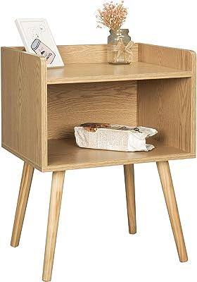 WOLTU TSR70hei Table de Chevet avec Compartiment de Rangement Ouvert en Bois, chêne Clair, 46x38x60cm (LxPxH)