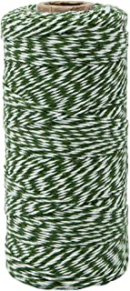 Just Artifacts ECO Bakers Twine 240-Yards 4Ply Striped Kelly Green - Decorative Bakers Twine for DIY Crafts and Gift Wrapping